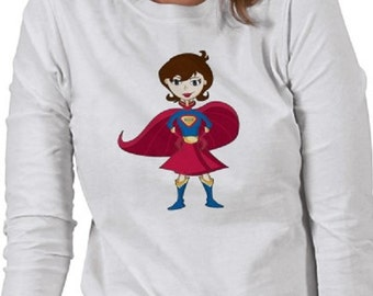 Super Mom T-Shirt - Graphic Tee - Womens Long Sleeve Cotton Tee