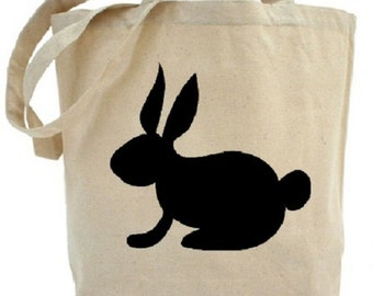Rabbit Tote - Cotton Canvas Tote Bag - Easter