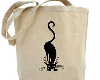 Black Cat Tote - Cotton Canvas Tote Bag