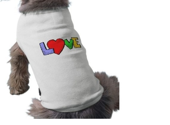 Dog Tee Shirt - LOVE - Valentine's Day