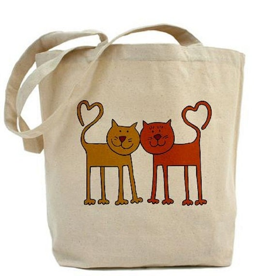 Cotton Canvas Tote Bag - Love CATS - CAT Bag