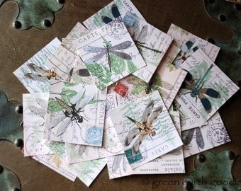 "Dragonfly Stickers, 1.5"" or 2"" squares, Dragonflies on Ephemera, Vintage Postcard Envelope Seals, large planner stickers, Recycled"