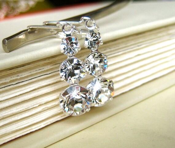 ON SALE Wedding Earrings - bridal, swarovski, graduated rhinestone, bridesmaid jewelry, glamour