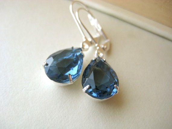 ON SALE Something Blue Earrings - bridal, wedding, pear, silver, montana sapphire, simple jewelry