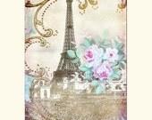 Eiffel Tower Instant Download no.59 Paris Printable Art Antique Wallpaper Collage Sheet Tattered Vintage 59