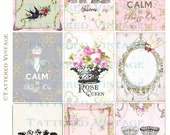 Girly Chic Tags Instant Download no.455 ATC Backgrounds Antique Wallpaper Collage Sheet Tattered Vintage 455