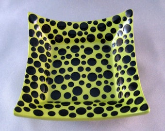 SALE - Catchall Dish - Lime with Black Dots