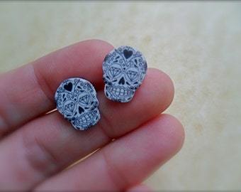 tattoo style day of the dead mini stud/post sugar skull earrings highly detailed with diamond eyes, hearts, filigree