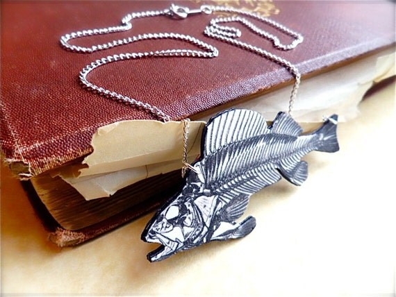 fish skeleton necklace vintage medical text bones diagram pendant with silver plated chain