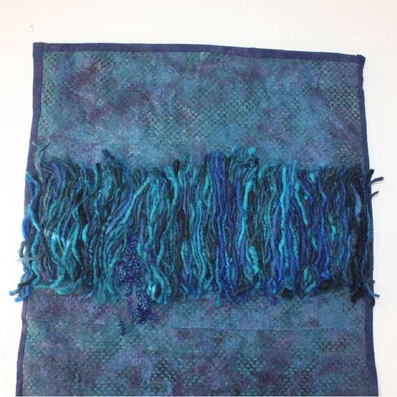 Beaded Fiber Art Wall Hanging - Exude Blue