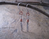 Sterling silver with copper accented earrings --- Free shipping
