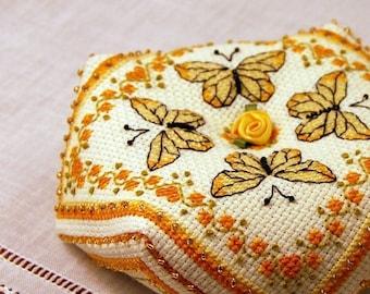 Yellow Butterflies Biscornu Cross Stitch Pattern Instant Download
