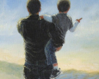 Father and Son Art Print, dad son paintings, father's day gift, boys room art, dad carrying son, dad gift, father prairie,  Vickie Wade