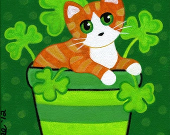 Orange Ginger Tabby CAT in SHAMROCKS Clover Folk Art PRINT from Original Painting by Jill