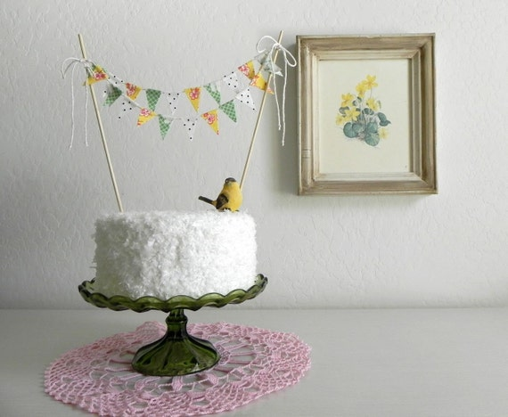 Spring Yellow and Grass Green Floral Polka dot Fabric Bunting Cake Topper Decoration / Romantic Garden Wedding