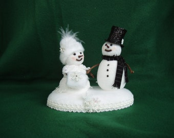 Snowman and Snow Woman Winter Weddiing Cake Topper