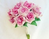 Bridal Bouquet Roses or vase arrangment True LOVE rose  - Fabric Flowers & Ribbon Roses tutorial PDF - No Sew at All - Instant DOWNLOAD