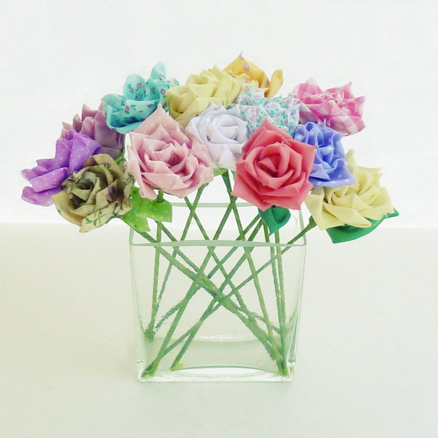 Fabric Flowers Tutorial Ribbon Roses Pdf Bouquet Or Vase