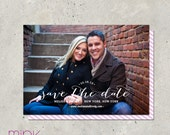 """save the date photo card handwritten calligraphy style - """"Flutter"""""""