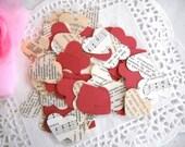Vintage Heart Confetti  / Love Hearts / 500 Pieces  / Wedding Decor / Valentine's Day / Party Confetti