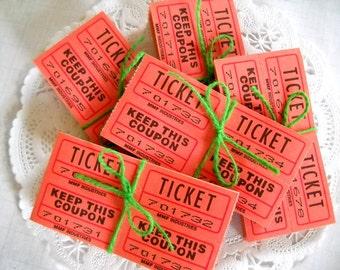 Orange Raffle Tickets / 18 Tickets / Vintage Carnival Tickets / Journal / Scrapbook Supply