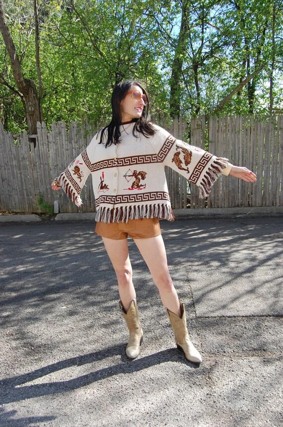 1960s Knit Zodiac Sweater Bell Sleeves Fringe