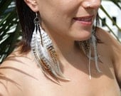 """DREAMCATCHER Feather Earrings - """"Tribal Vision"""" - White, Brown and Natural Grizzly Rooster Feathers. Free Gift Wrap."""