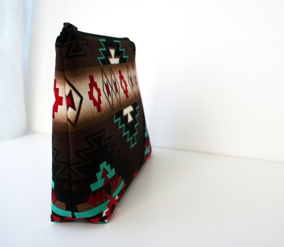 Large Makeup Bag - Southwestern - Navajo Fabric- Gadget Case