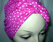 Retro 40's Hot Pink  Polka Dot Rosie the Riveter Look Cancer Chemo Hat Alopecia Turban Hijab Free Shipping in the USA