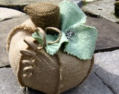 small natural burlap pumpkin