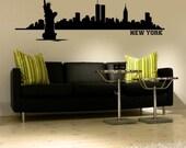 New York Skyline, New York Wall Decal, NYC Skyline, Statue of Liberty, Cityscape Wall Decal, Dorm Decor, Modern Nursery Decor
