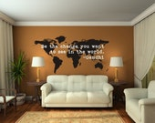 World Map Wall Decal, Be The Change Quote, Modern Nursery Decor, World Map Dorm Decor, Wanderlust Wall Decor, Gandhi Wall Quote