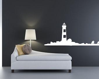 Beach Decor, Beach Wall Decals, Lighthouse Decal, Lighthouse Wall Decal, Nautical Nursery Decor, Cottage Chic Decor, Coastal Wall Art