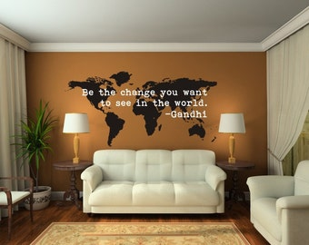 World Map Wall Decal, Be The Change Quote, Modern Nursery Decor, Dorm Decor