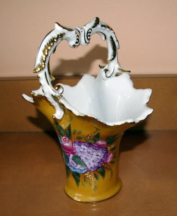 Vintage Vase with Handle, Flowers,Vase, Butterscotch Color, Vintage 1970's