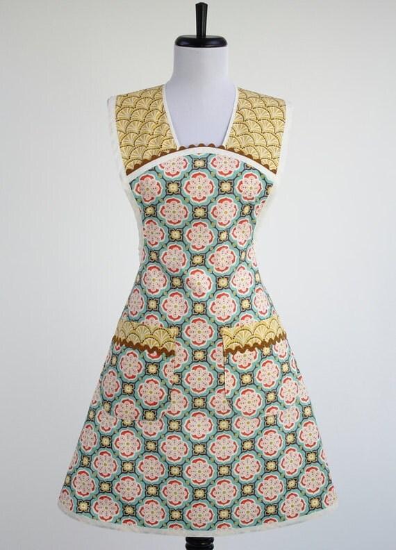 Cute Retro Apron Kate Spain Fabric Geometric Aqua and Yellow Cocina Style