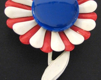 Vintage 1970s Patriotic Red White and Blue Daisy Brooch Pin New Old Stock