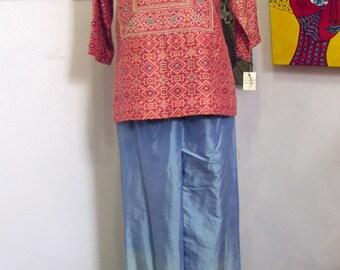 SALE WAS 275.00 Very Very Rare 1960s San Francisco Designer Gibson Bayh Silk Evening  Ensemble Size 10