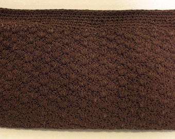 Vintage 1940's Chocolate French Crocheted Clutch Bag Purse