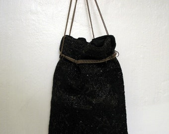 Exceptional 1910's Edwardian Beaded Purse with Chain Handle