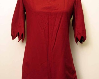 SALE was 85.00 Vintage 1890's Victorian Red Wool Tunic with Embossed Leather Trim