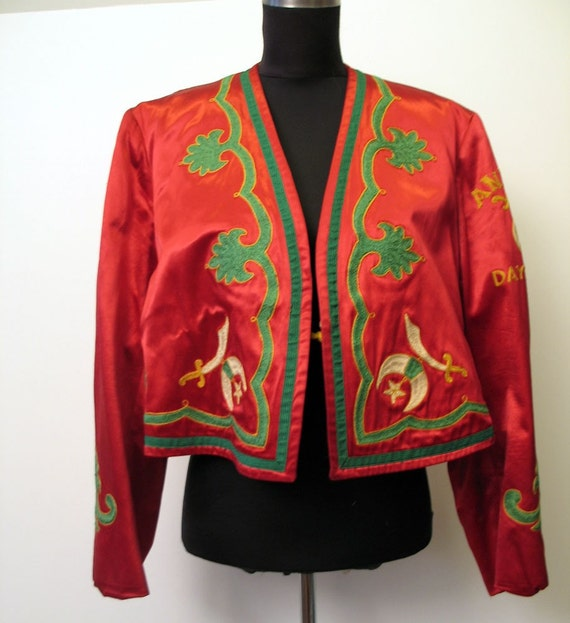Reserved for Merrian Vintage 1940's Embroidered Red Satin Antioch Dayton Masonic Bolero Jacket
