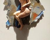 Sleeping Venus Figure Sculpture, Goddess In a Dream, Mixed Media Nude Wall Piece Original Painting Street Art