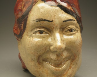 Face Vase Laughing Pot Head With Bas Relief Sculpture Dancer Vessel