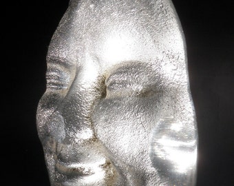 Cast Glass Face Sculpture Prism Smile, The Rainbow Maker, Figurative Optical Art