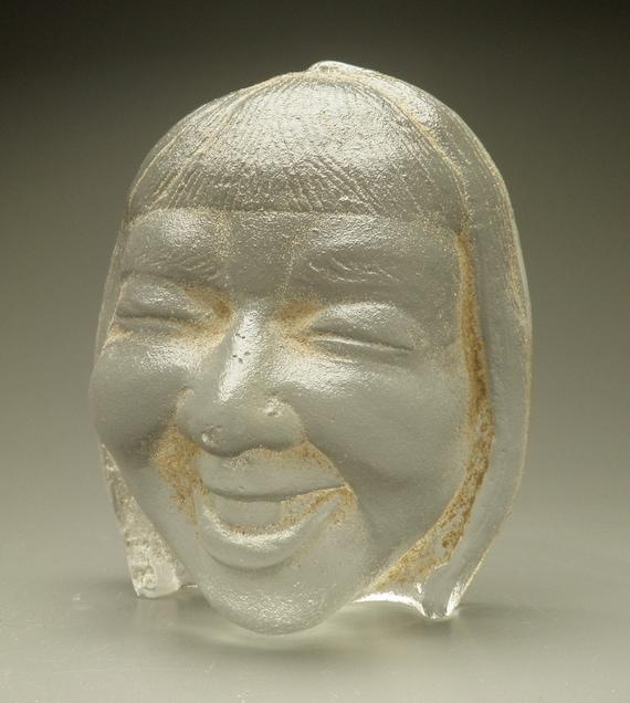 Cast Glass Face Sculpture, Uncontrollable Laughter, Clear Woman's Head