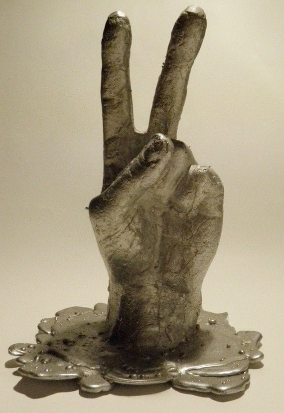 Peace Sign Hand Sculpture, Lost Wax Aluminum Cast Original Art, SALE