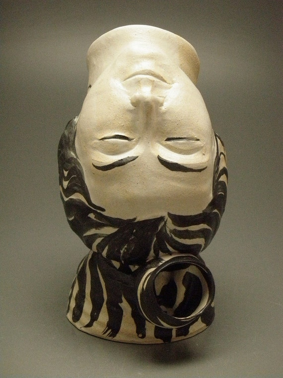 Inversion, Ceramic Head Art Face Vase Sculpture Upside Down Pitcher Vessel Home Decor