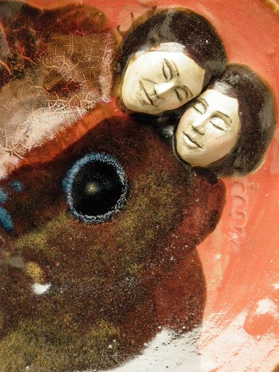 Lovers Serving Platter Wall Art Sculpture Roundel Bas Relief Faces Snuggling Couple Red Glaze and Glass Wabi Sabi Beauty in Imperfection