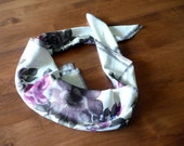 feminine floral vintage head scarf covering - soft purples - square size